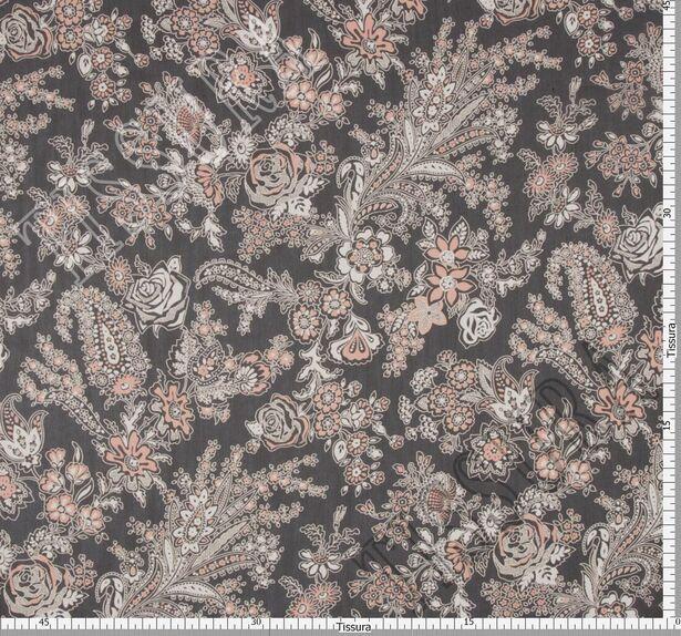 Ткань жоржет из 100% шелка, сочетание растительного принта и пейсли на черном фоне: основные цвета принта – молочный и светло-коралловый #2