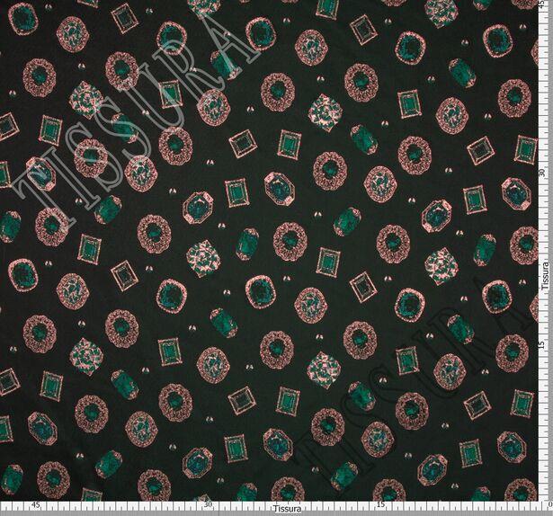 Жаккард темно-зеленый с изображением драгоценных камней #2