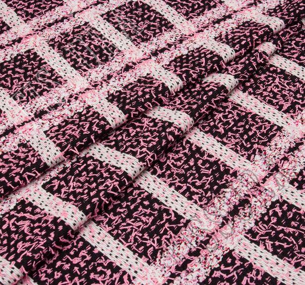 Буклированный твид в стиле «Шанель» в розовую клетку #1