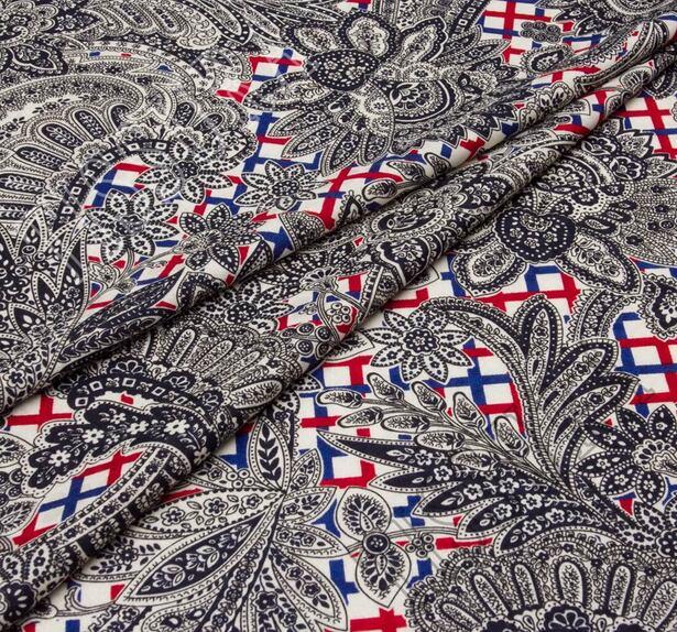 Жаккард из шерсти и шелка с разными принтами #1