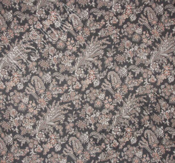 Ткань жоржет из 100% шелка, сочетание растительного принта и пейсли на черном фоне: основные цвета принта – молочный и светло-коралловый #3