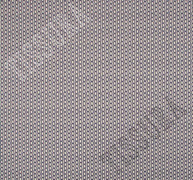 Поплин-стрейч бежевого цвета с крупным принтом в виде темно-синих цепей #3