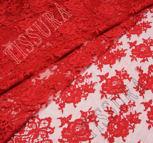 Французское кружево с цветочным дизайном, подчеркнутым кордовой нитью с темно-красным оттенком #1