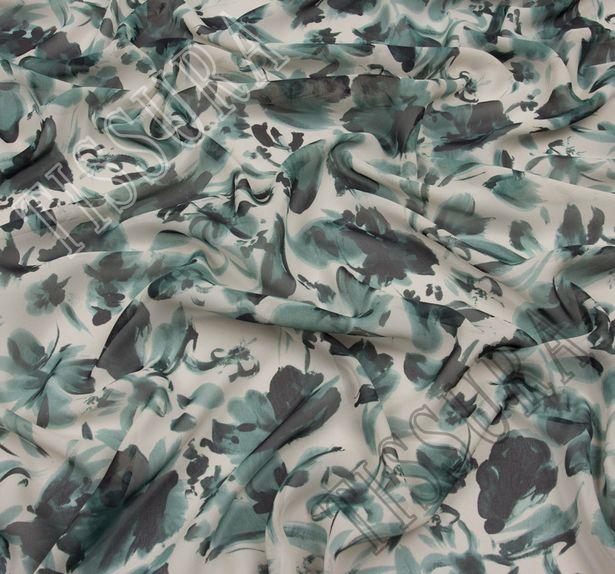 Ткань жоржет из 100% шелка, цветочный принт на молочном фоне: основные цвета узора – зеленый и темно-зеленый #3