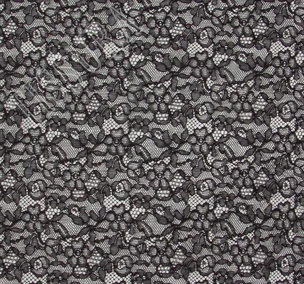 Черное французское кружево с цветочным узором, обрамленное кордовой нитью в тон - просвечивает #3