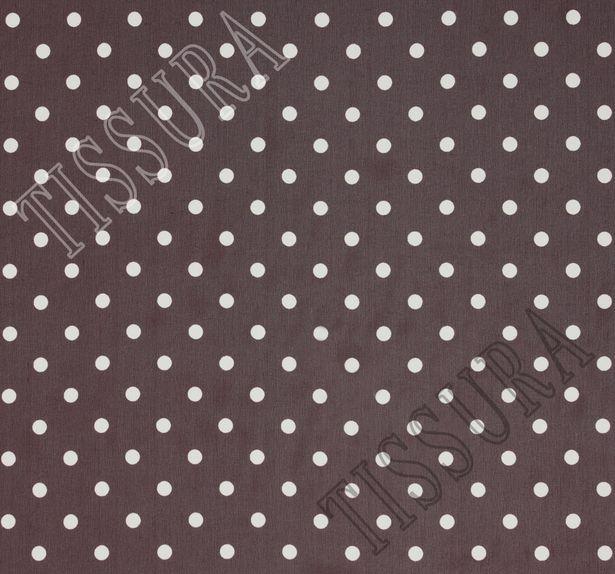 Жоржет из 100% шелка: классический дизайн – белый горошек на темно-бордовом фоне #2