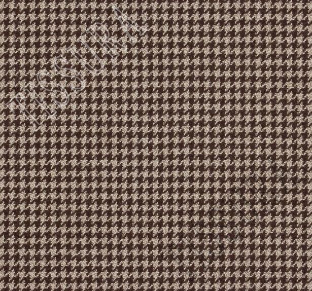 Ткань из шерсти 686043 Pecora Nera® в бежево-коричневую клетку «гусиная лапка» #2