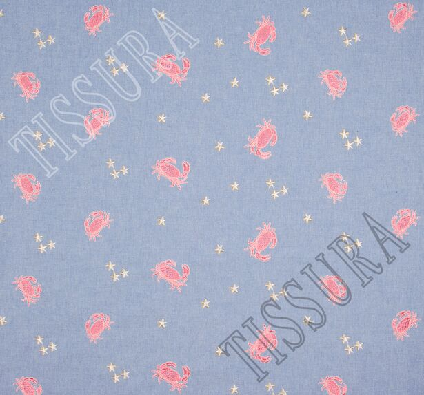 Хлопок голубой с вышивкой в виде крабов и звёзд #3