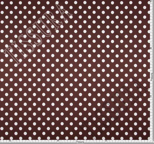 Атласная стрейч ткань. Основные цвета – молочный (горошек), темно-коричневый (фон) #2