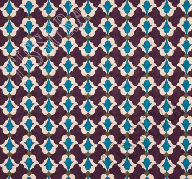 Жаккард из шерсти и шелка фиолетового оттенка с принтом #3