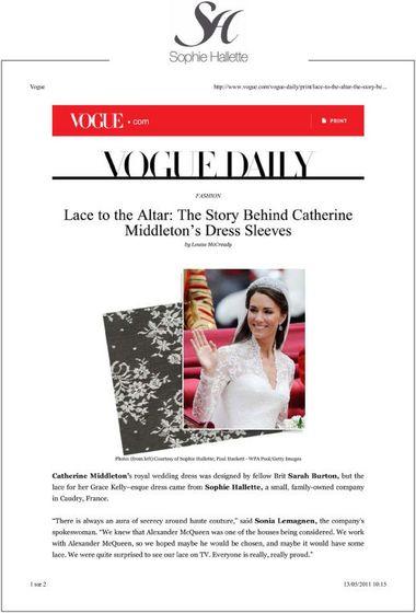 СМИ Франции о свадебном кружеве Кейт Миддлтон
