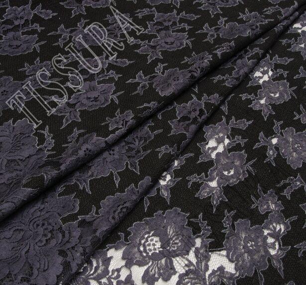 Букле черного цвета с темно-серыми кружевными аппликациями #1