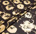 Ткань из 100% хлопка: на черном фоне золотистое напыление в виде принта с цветами (анемонами) #1