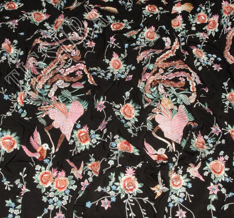 Креп-сатин шелковый с вышивкой #3