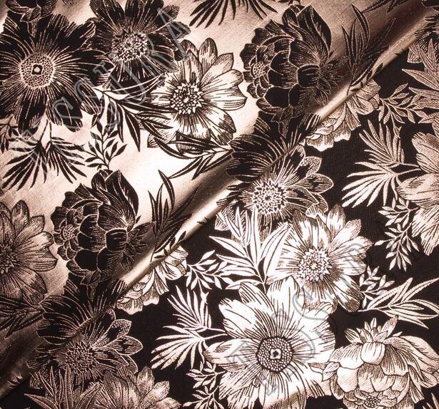 Парча черная с крупными медными цветами  #4