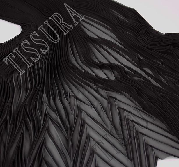 Шифон-плиссе, готовый плиссированный фрагмент «полусолнце» из легкого черного шифона #2