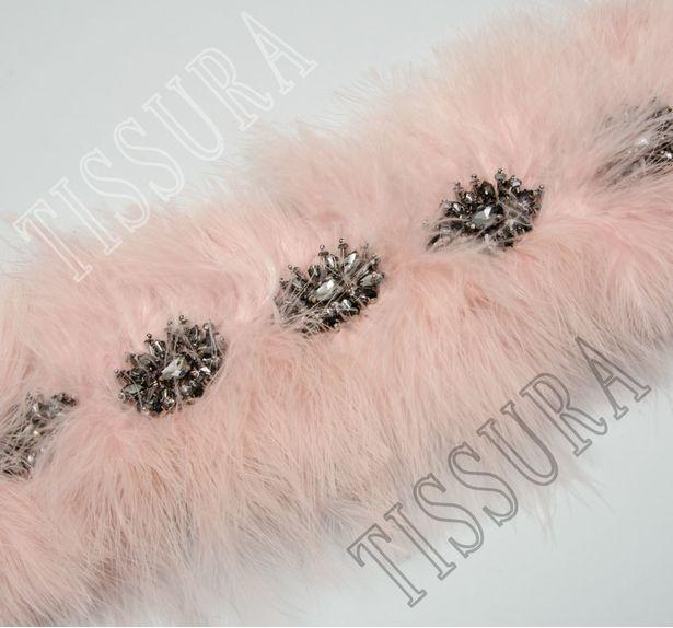 Тесьма с перьями и кристаллами #1