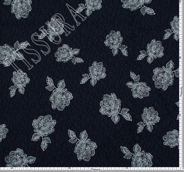 Жаккард темно-синего оттенка с цветами #2