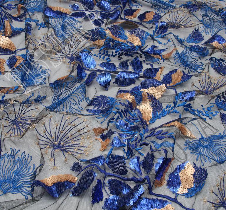 Сетка с вышивкой и пайетками  #4