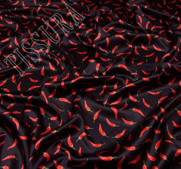 Шелковый атлас с красными перчиками на черном фоне #1