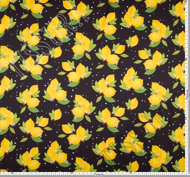Шелковый атлас с яркими лимончиками на черном фоне #3