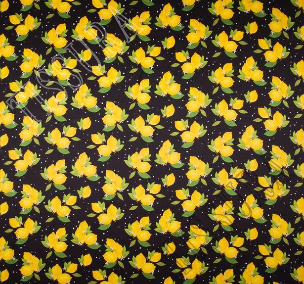 Шелковый атлас с яркими лимончиками на черном фоне #2