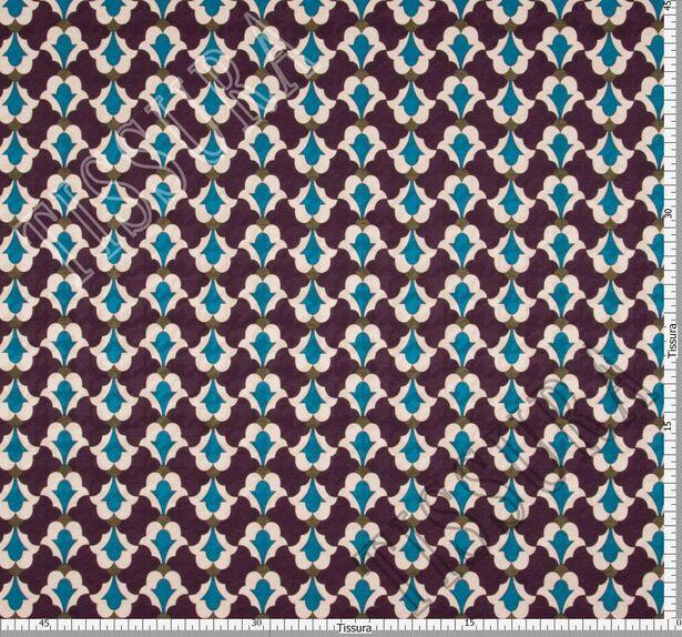 Жаккард из шерсти и шелка фиолетового оттенка с принтом #2