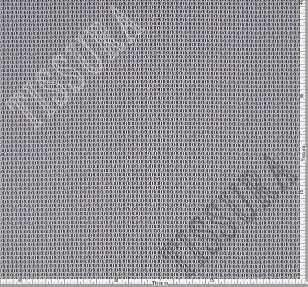 Поплин-стрейч темно-синего цвета с некрупным орнаментом в виде белых завитков #2