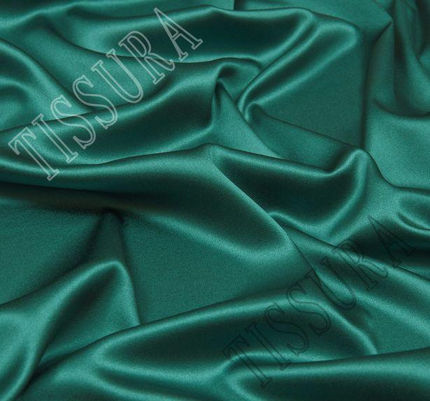 Атлас-стрейч изумрудно-зеленого оттенка #1