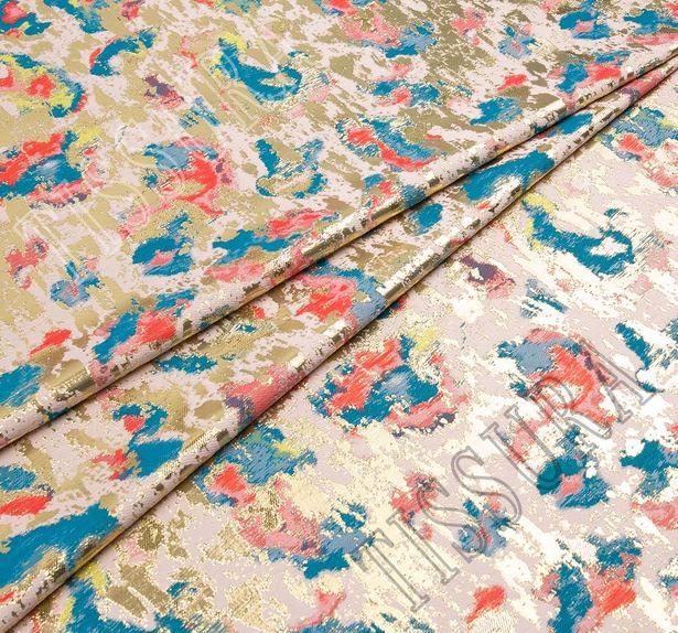 Жаккард розового оттенка с абстрактным рисунком #1