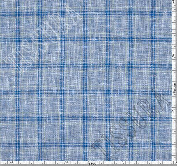 Лён - полотно синего цвета в клетку салатового и темно-синего цветов #3