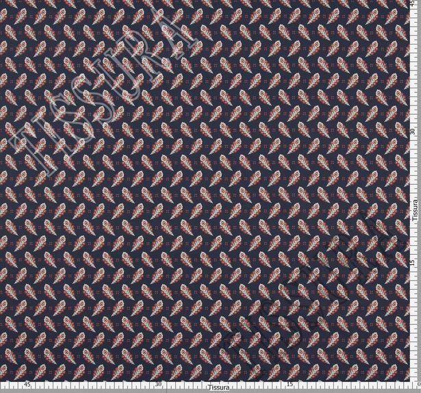Поплин из 100% хлопка темно-синего цвета с эксклюзивным принтом пейсли в коричнево-белой гамме #2