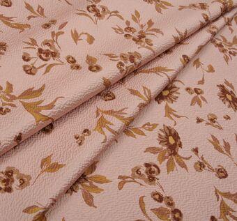 Жаккард с цветочным узором коричневого оттенка #1