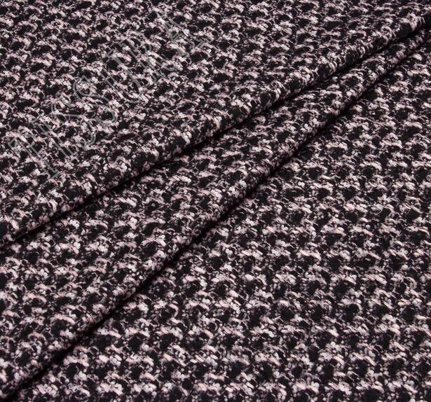 Ткань в стиле Шанель с добавлением кашемира и шелка. Дизайн – меланж. Оттенки волокон – черный, розовый, белый #1