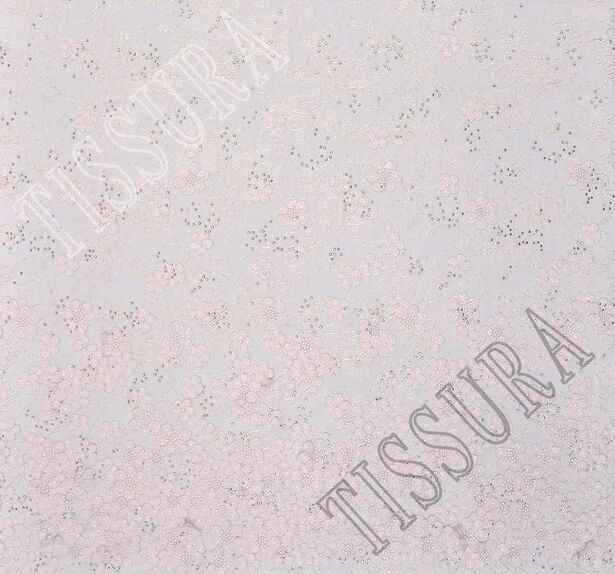 Кружево шантильи с аппликациями и кристаллами Swarovski #3