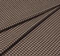 Ткань из шерсти 686043 Pecora Nera® в бежево-коричневую клетку «гусиная лапка» #1