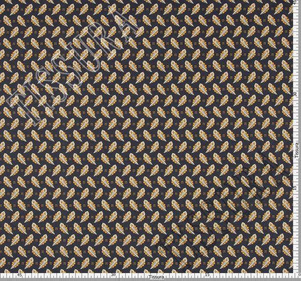 Поплин из 100% хлопка темно-синего цвета с эксклюзивным принтом пейсли в желто-белой гамме #2