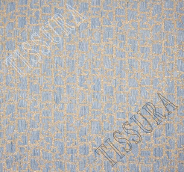 Жаккард светло-голубой с золотистым рисунком #3