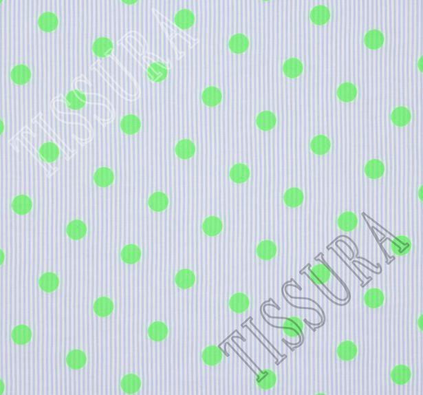 Жаккард хлопковый с узором в неоново-зеленый горошек  #1