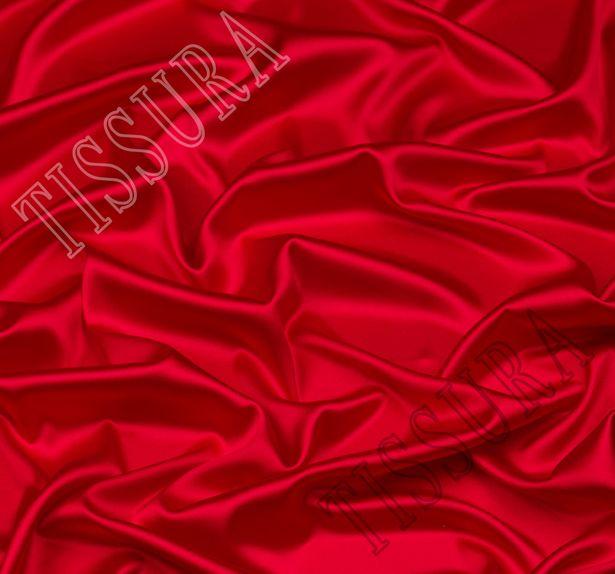 Итальянский атлас стрейч красного оттенка из шелка с добавлением эластана #1