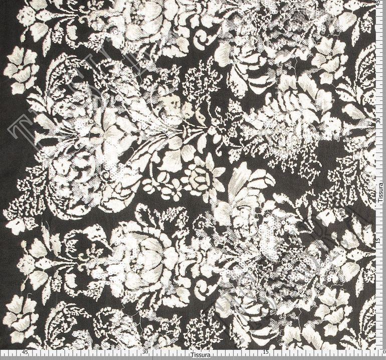 Сетка с вышивкой, декорированная пайетками #2
