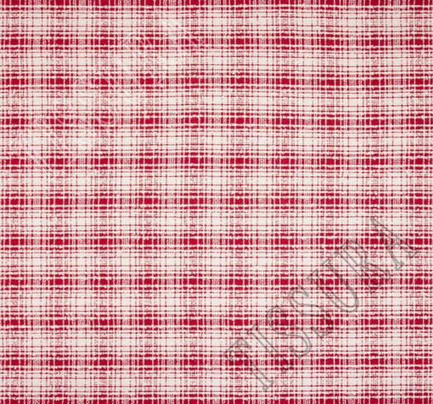 Жаккард-букле красного и молочного оттенков в клетку #3