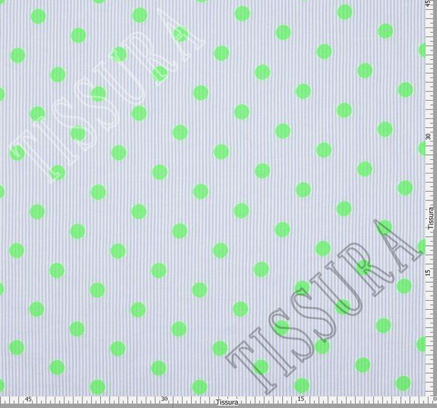Жаккард хлопковый с узором в неоново-зеленый горошек  #2