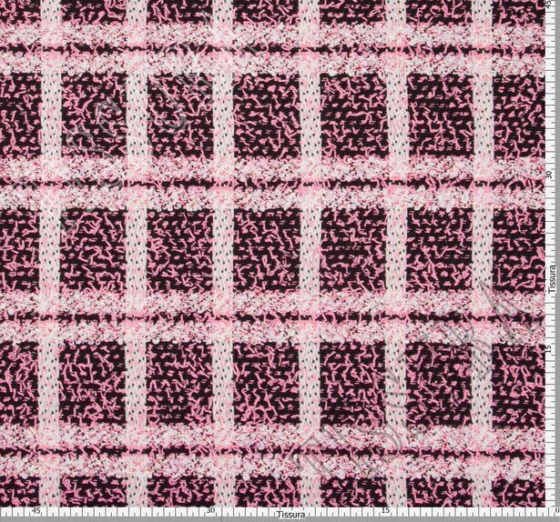 Буклированный твид в стиле «Шанель» в розовую клетку #2