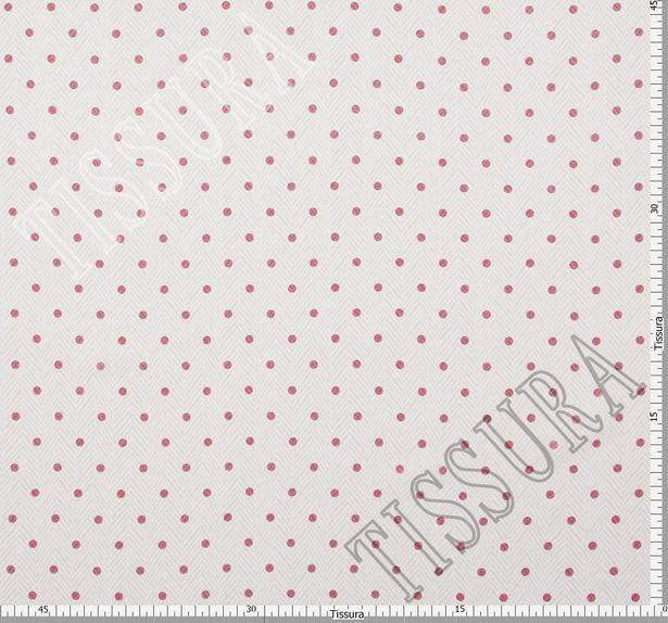 Ткань жоржет из 100% шелка, сочетание горохового принта и елочки на молочно-бежевом фоне: основной цвет принта – красный #2