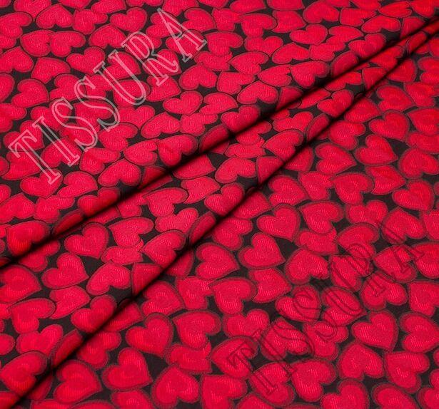 Жаккард черный с красными сердцами #4
