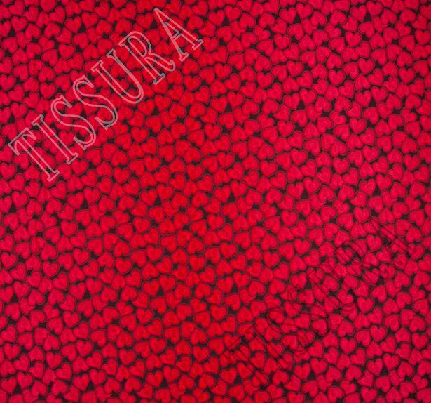 Жаккард черный с красными сердцами #3