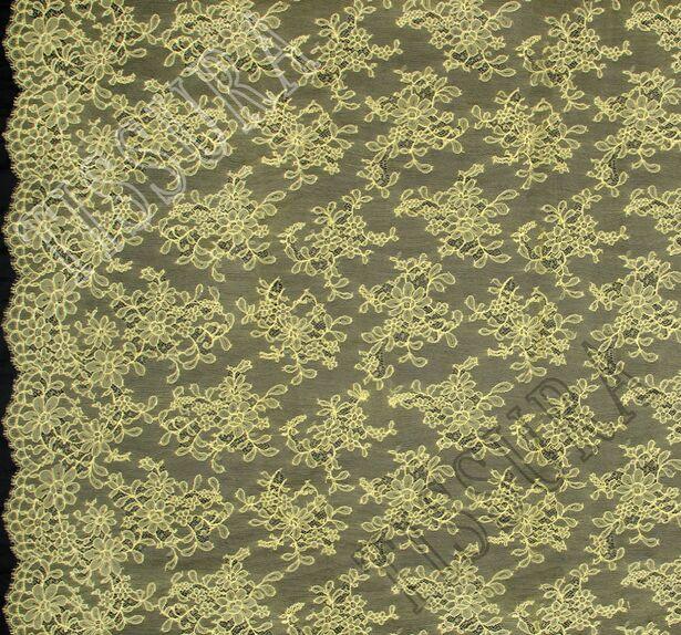 Желтое французское кружево шантильи с цветочным орнаментом и фестонами с обеих сторон #3