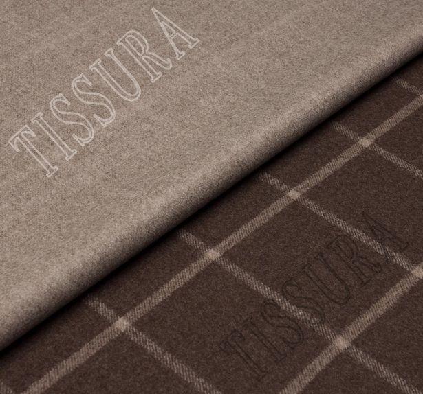 Двусторонняя пальтовая ткань из шерсти Pecora Nera® коричневого и бежевого оттенков #1