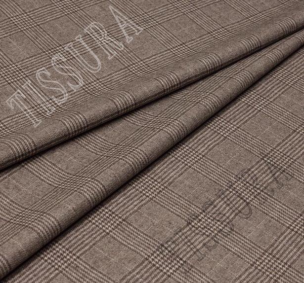 Костюмная ткань из шерсти Pecora Nera® в бежево-коричневую клетку «Принц Уэльский» #1